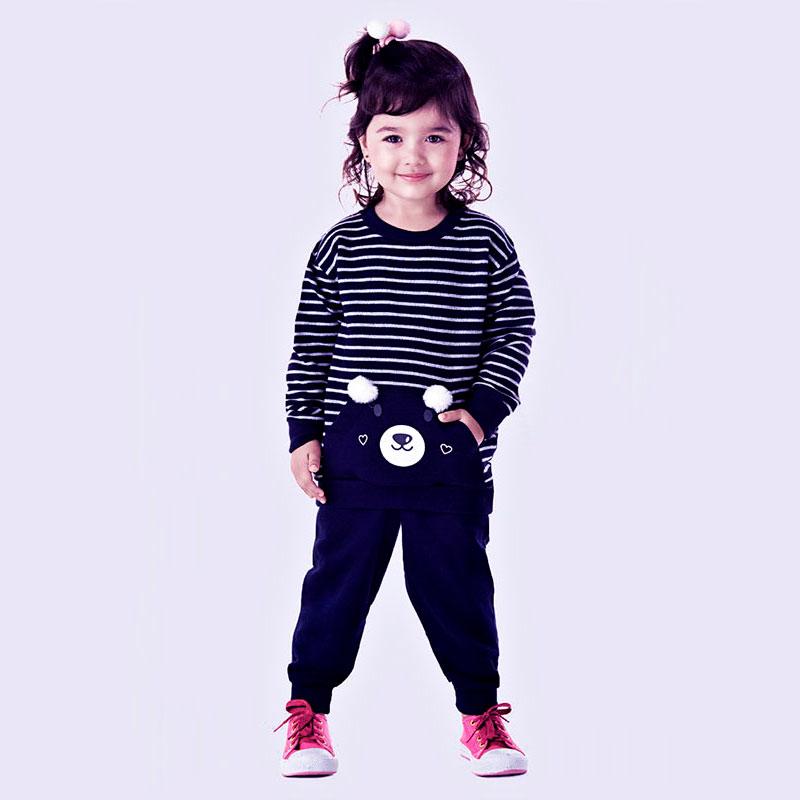 Conjunto Infantil Feminino Outono Inverno composto de Casaco Moletinho Listrado com Bolso Canguru e Calça Moletinho com P