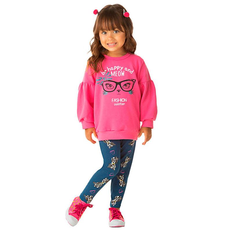Conjunto Infantil Feminino de Moletom composto de Casaco com Manga Bufante e Legging Cotton Estampada. A Criança bem aquecida e na moda.