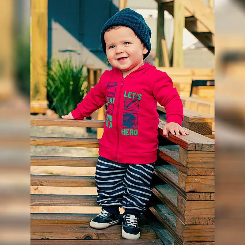 Conjunto Infantil Outono e Inverno Masculino Plush Casaco com Orelhinhas e Calça Saruel com Punho. A Criança bem aquecida e na moda.