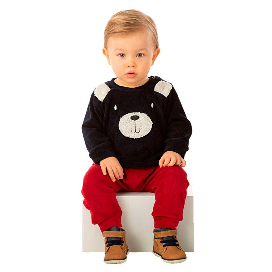 Conjunto Infantil Outono e Inverno Masculino Plush Casaco com Orelhinhas e Calça Saruel com Punho